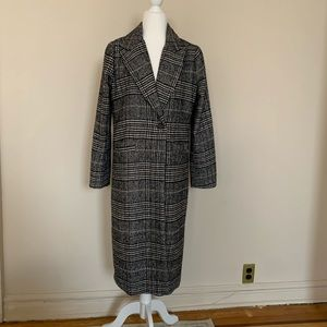 Jackets & Blazers - Plaid with houndstooth single button long overcoat